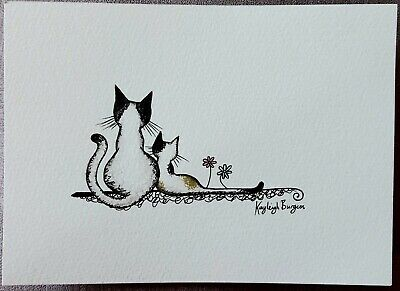 Original watercolour ink painting picture cat cats kitten black white ginger 2