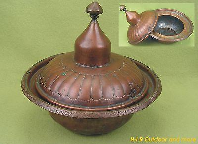 Sehr alter massiver Kupfer Topf Deckeltopf Kupferkessel Kupferkanne - Antik