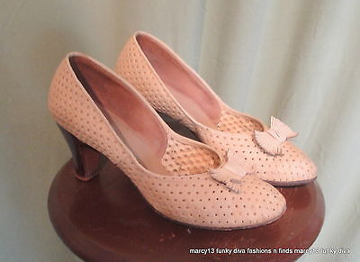 Cute Vintage 40's 50's Naturalizer Pierced Beige High Heel Shoes w Bows Size 8.5