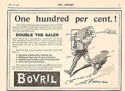 1900 ANTIQUE PRINT- BOER WAR-ADVERT- BOVRIL- ONE HUNDRED PERCENT