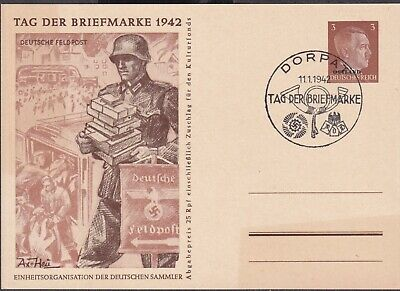 1942 ESTONIA OSTLAND DORPAT TARTU PICTORIAL PS CARD CTO