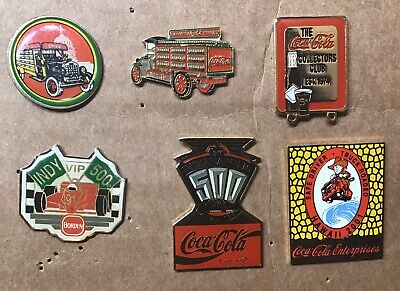 6 Vintage Coca Cola / Coke Pins ~ Indianapolis 500 ~ Collectors Club Pins & More
