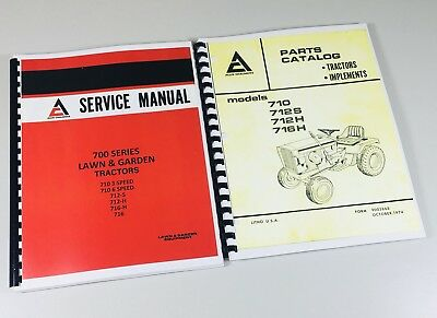 Lot Allis Chalmers 700 Series Parts Catalog Service Manual Lawn Garden Tractor