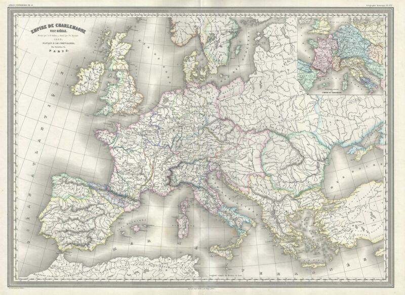 1860 Dufour Map of Europe under Charlemagne