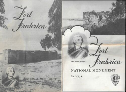 2 Travel Brochures 1956 & 1957 from FORT FREDERICA, National Monument in Georgia
