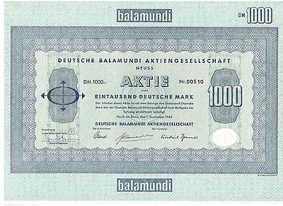Deutsche Balamundi AG 1000DM Neuss  1965