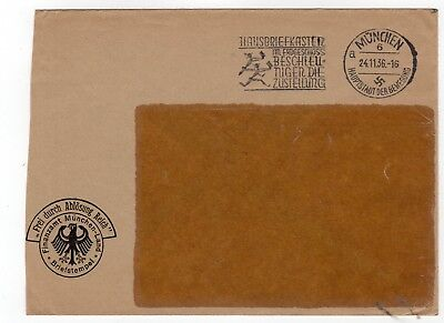 Germany 1936 stampless freepost official window envelope from Munchen