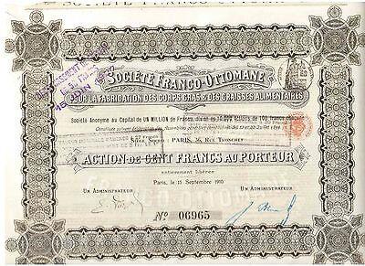 Franco - Ottomane Fabrication Corps Gras & Graisses Alimentaires 1910