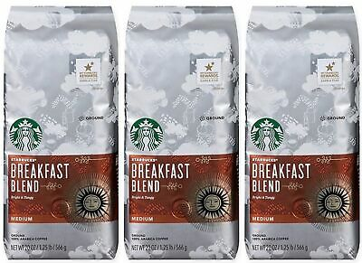 Starbucks Breakfast Blend Medium Roast Ground Coffee, 20 Ounce 3-Pack 7/20 BBD
