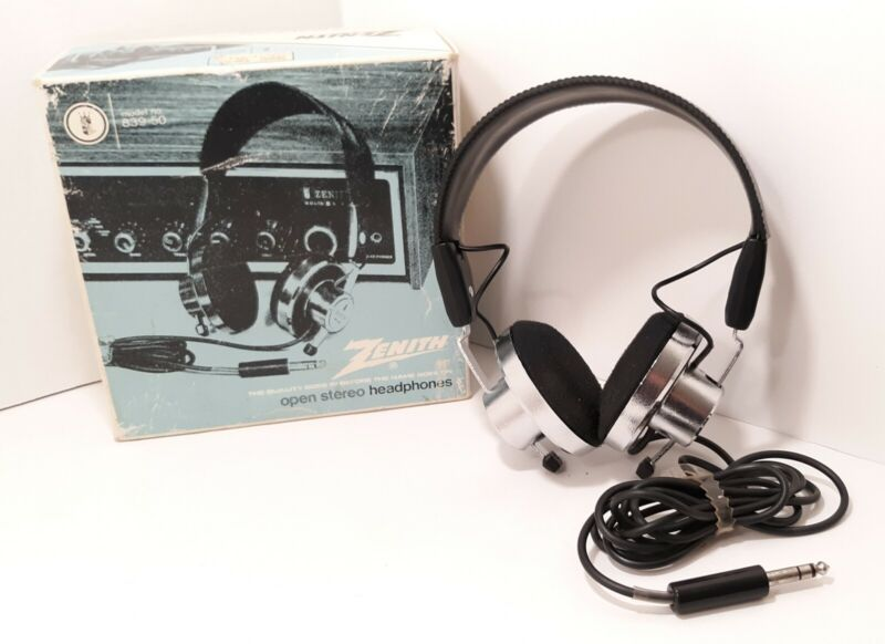 Vintage & RARE Zenith Open Stereo Headphones Model# 839-50 with Original Box