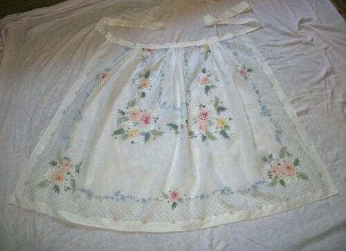 Wow! Vintage PAPER-WHITE Hand-Embroidered Applique Organdy Ankle Length Apron