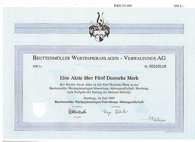 Beuttenmüller Wertpapieranlagen Verwaltung  5DM Hamburg 1997