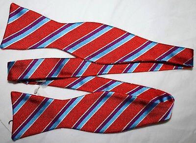New $85 IKE BEHAR Bowtie Bow Tie STRIPES Orange Blue Purple White, NEIMAN MARCUS