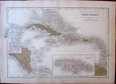 West Indies Caribbean Central America Jamaica 1854 S. Hall map old hand color