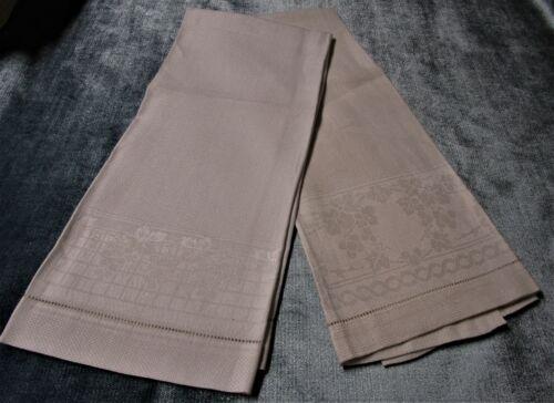 Antique 2 Nubby Linen Towels Grape Patterns Hemstitched