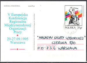 Poland 1995 - Conference of the Inter. Labour Organisation - Cp 1100 - postcard - Cieszyn, Polska - Poland 1995 - Conference of the Inter. Labour Organisation - Cp 1100 - postcard - Cieszyn, Polska