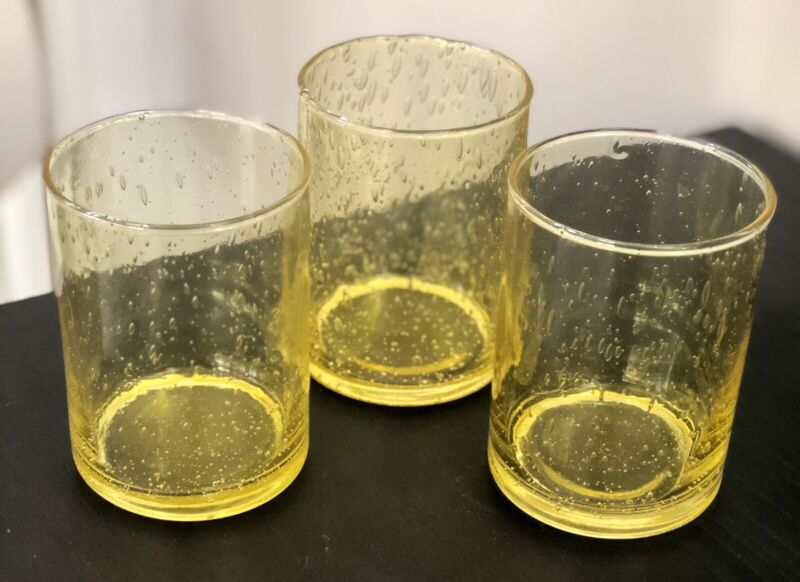 """(3) Yellow Seeded Bubble 10 Ounce Glasses ~ 4"""" Tall"""