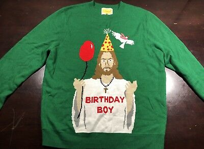Jesus Birthday Boy Ugly Sweater For Christmas Party Womens Size S-XXL Green NEW