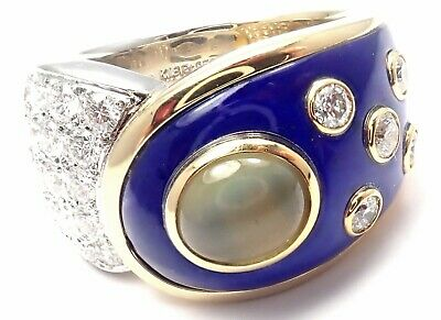 Rare! Authentic Mikimoto Platinum & 18k Gold Diamond Cats Eye Enamel Band Ring