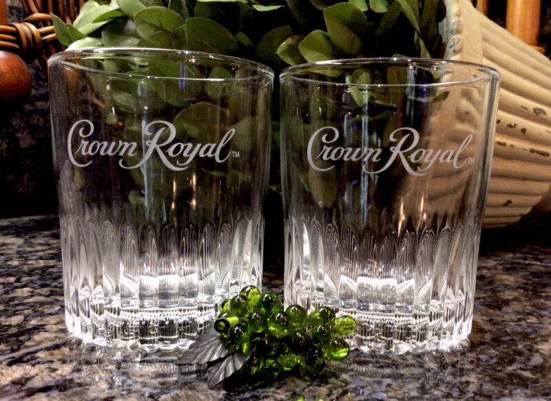 Limited Edition Crown Royal Est 1939 Embossed Ribbed Base Rocks Glasses (2) NEW!