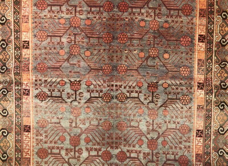 Special Samarkand - 1900s Antique Khotan Rug - East Turkestan Carpet 6.8 X 13 Ft