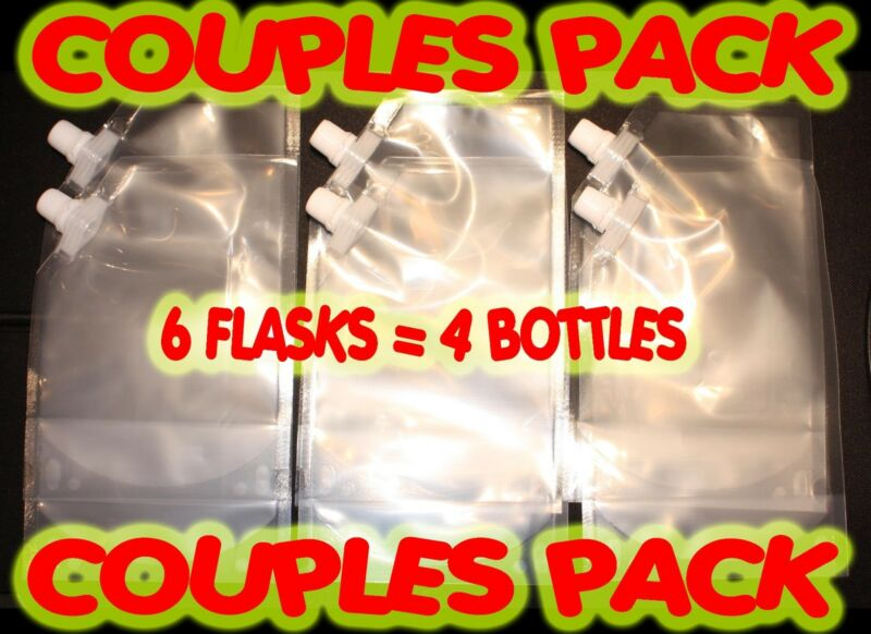 Plastic Flask 6 pack 16oz  Great for Cruises, Runners, Rum, Wine, Sports Events