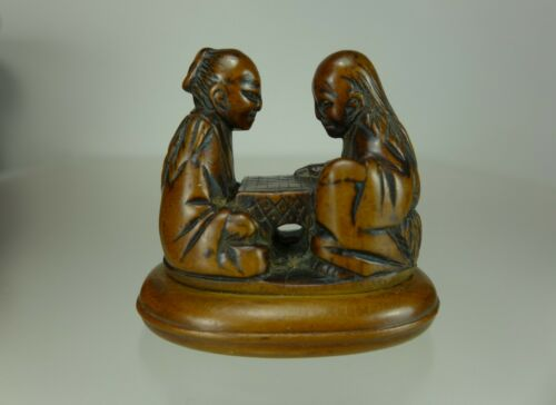 19th C. Japanese Boxwood Netsuke of Two Sages Playing Go
