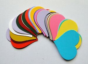35 Asst Coloured Heart Shaped in Smooth Card Cut -Outs For Crafts 70 x 62mm NEW