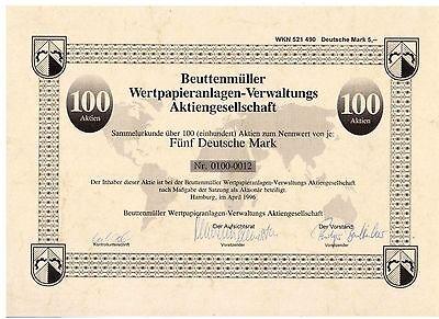 Beuttenmüller Wertpapieranlagen Verwaltung  500DM Hamburg 1996
