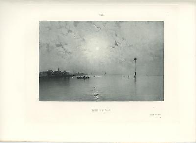 ANTIQUE FULL MOON CLOUDS FOG SKY NAUTICAL NIGHT ROW SAIL BOAT ITALY OLD PRINT