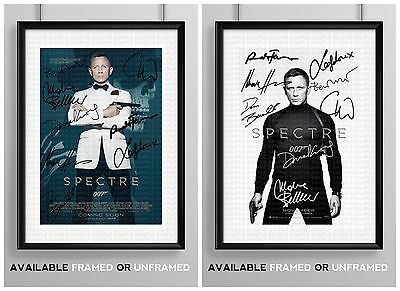 SPECTRE CAST SIGNED AUTOGRAPH PRINT POSTER PHOTO MOVIE FILM JAMES BOND 007 NEW
