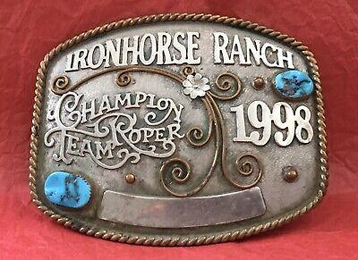 VTG 1998 IRONHORSE RANCH RODEO CHAMPION TEAM ROPER TURQUOISE TROPHY BELT BUCKLE