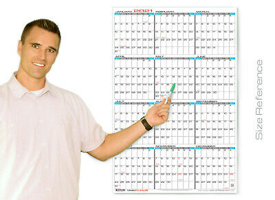 Jjh Planners Laminated - 24 X 36 Large Yearly Wall Calendar 2021 Vertical E