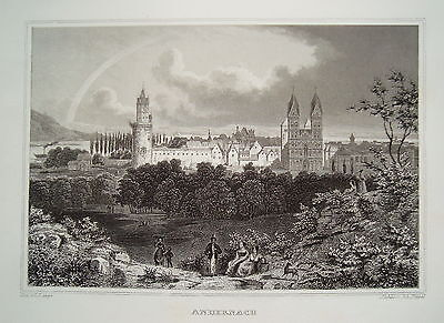 Andernach Gesamtansicht mit Dom  Rhein echter alter seltener Stahlstich 1850