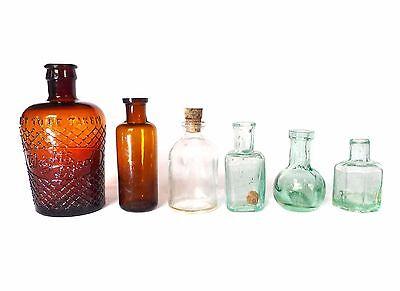 Rare 6 x ANTIQUE VINTAGE OLD CHEMIST APOTHECARY GLASS BOTTLES MEDICINE CURE