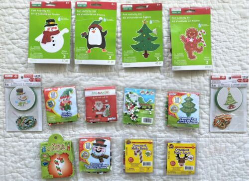 Lot of 14 Kids Christmas Craft Kits Party Favors Perler Creatology Felt Stitch