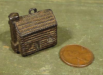 Antique 1888 Benjamin Harrison Log Cabin Political Metal Watch Fob