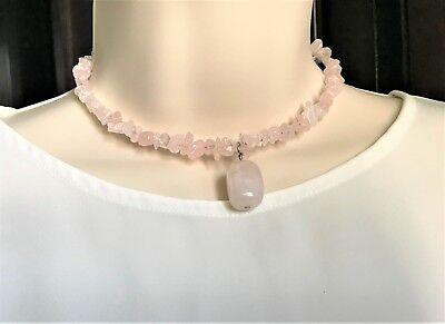 Natural Gemstone Rose Quartz MEMORY WIRE Necklace Chakra Fengshui USA