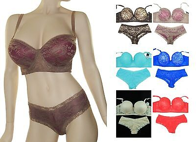 NWT GORGEOUS SUPPORTIVE LACE OVERLAY BRA + LACE HIPSTER PANTY SET 32-44 D DD