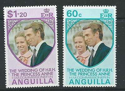 ANGUILLA SG165/6 1973 ROYAL WEDDING MNH