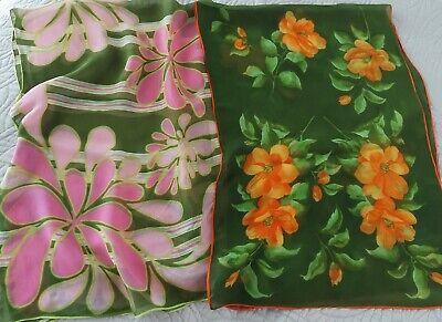 Vintage Scarf Styles -1920s to 1960s VINTAGE Lot of 2 Unbranded Floral Print 100% Silk Rectangle Scarves $9.99 AT vintagedancer.com