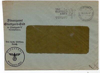 Germany 1938 stampless freepost official window envelope from Stuttgart