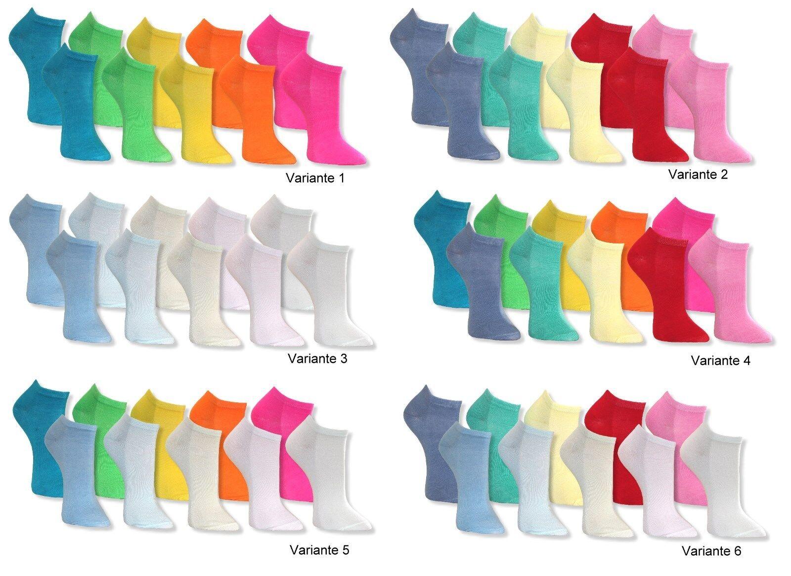 10 Paar Socken SNEAKER Füßlinge Damen Mädchen Sneakersocken uni NEON PASTELL