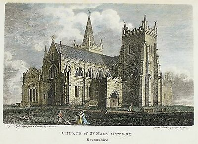 OLD ANTIQUE PRINT CHURCH OF ST MARY OTTERY DEVON 1801 ENGRAVING by BONNER  ANGUS