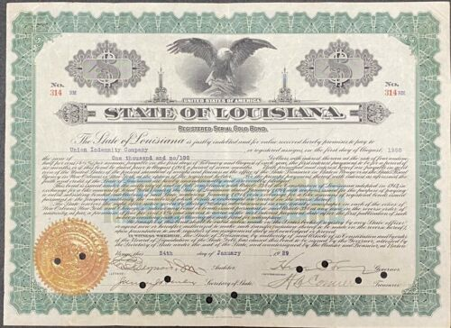 1929 $1000 State of Louisiana Gold Bond Signed by Gov. Huey P. Long