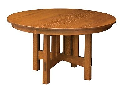 Amish Mission Craftsman Round Pedestal Dining Table Solid Wood 48