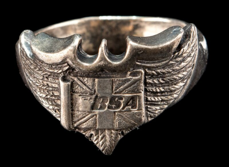 Vintage Sterling Silver BSA Ring  A.S.Co Size 11 1/4