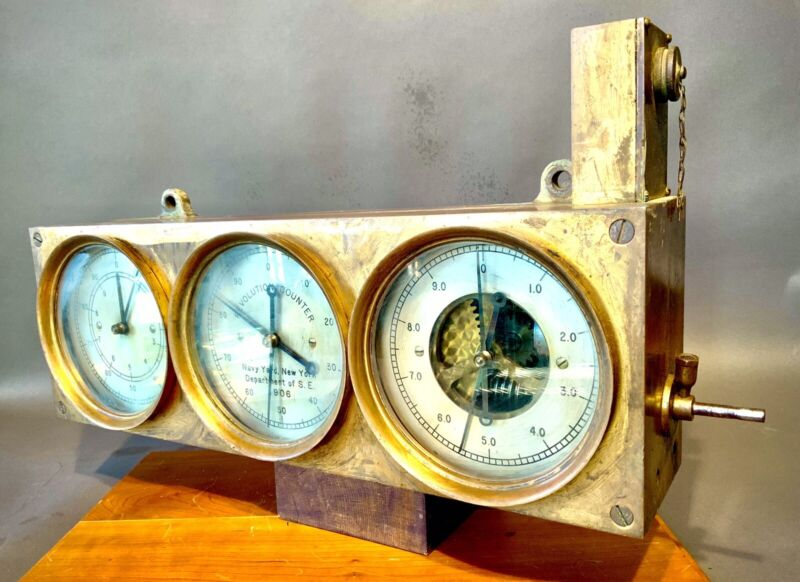 1906 STEAM  BATTLESHIP CONNECTICUT ALL BRASS REVOLUTION COUNTER GAUGE LOG