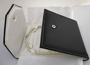Necklace Wallet Pouch Pearls Holder Jewellery Gift Box Black/Ivory-Travel-Boxed