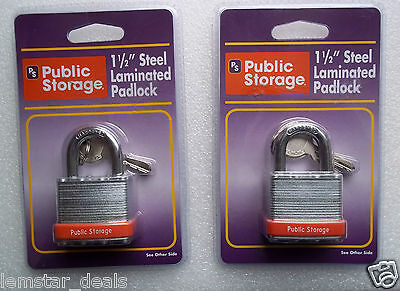 Set Of 2 Public Storage 1 5 Inch Steel Laminated Padlock With Keys New